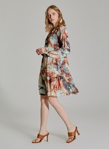 People By Fabrika Desenli Düğmeli Elbise Renkli